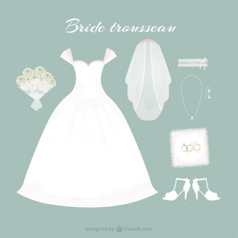 Hand drawn bride dress with cute accessories