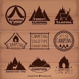Hand drawn brown camping logotypes