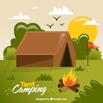 Hand drawn brown camping tent in a forest