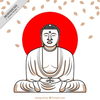 Hand drawn buddha with red circle background