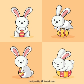 Hand drawn bunny with an Easter egg