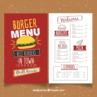 Hand-drawn burger menu template