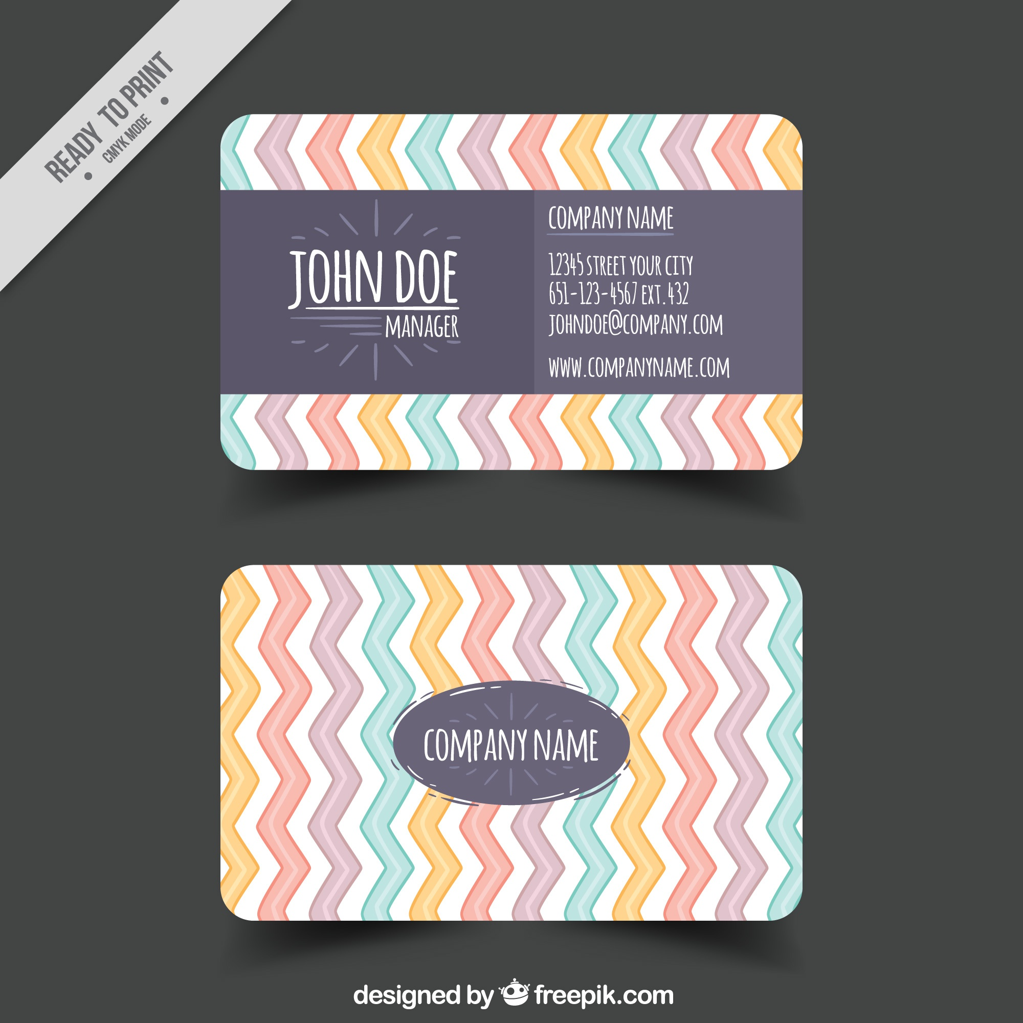 Hand-drawn business card with colored zigzag lines