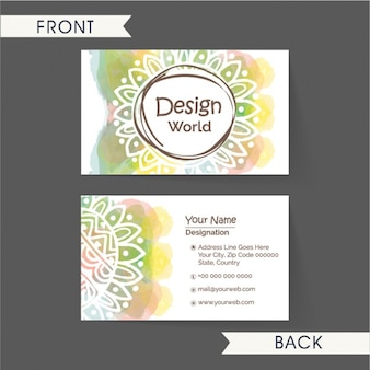 Hand-drawn business card with colorful stains and floral decoration