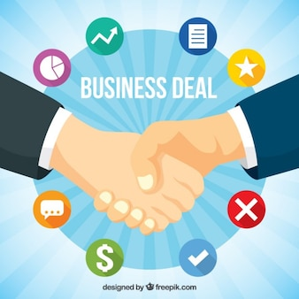 Hand drawn business deal with icons