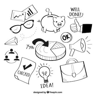 Hand drawn business element collection