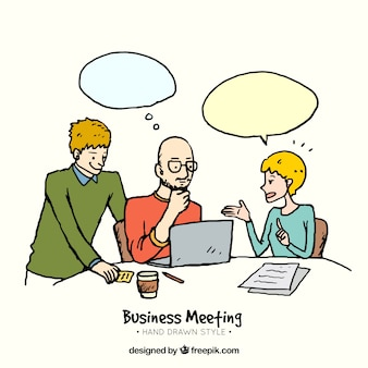 Hand drawn business meeting scene