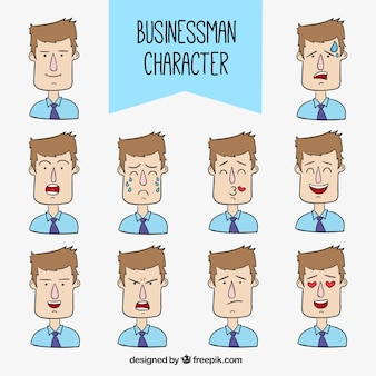 Hand-drawn businessman character with facial expressions