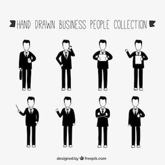 Hand-drawn businessmen collection