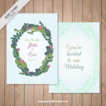 Hand drawn cactus wreath wedding invitation