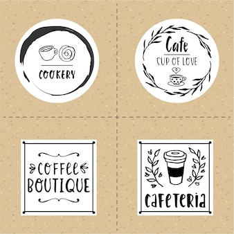 Hand drawn cafe logo set