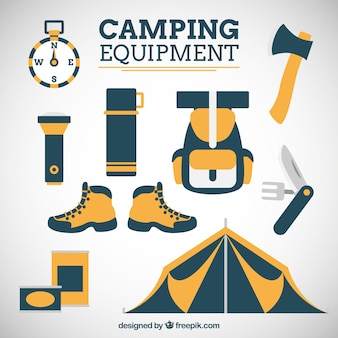 Hand drawn camping equipment in two colors