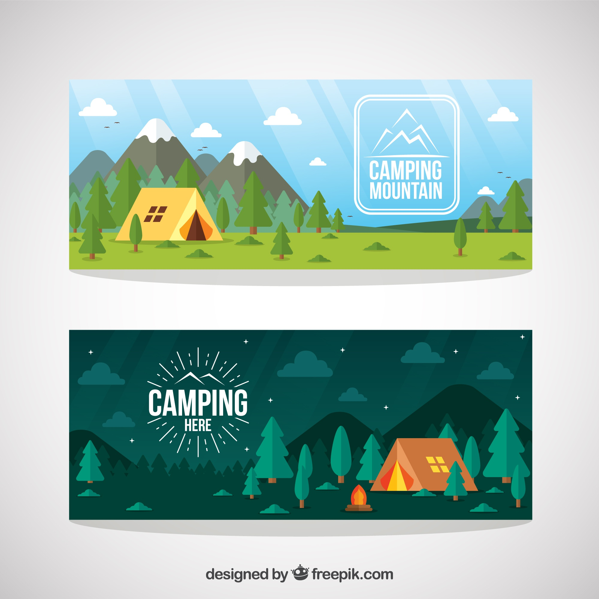 Hand drawn camping tent in a forest banners