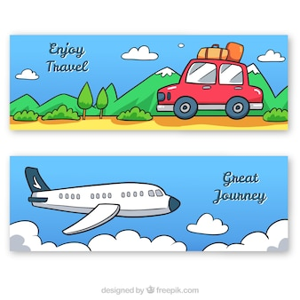 Hand drawn car and airplane travel banners