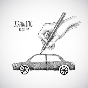 Hand drawn car design