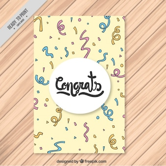 Hand-drawn card with confetti in different colors