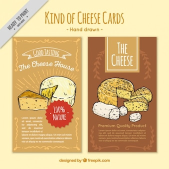 Hand drawn cards of different types of cheese