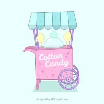 Hand drawn cart background with cotton candy