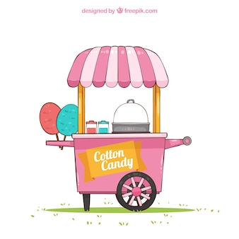 Hand drawn cart of cotton candy