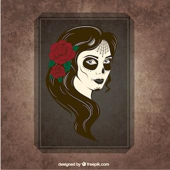 Hand drawn Catrina skull poster