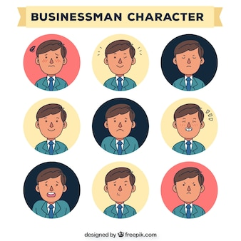 Hand drawn characters of business men set