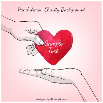 Hand drawn charity background with a watercolor heart