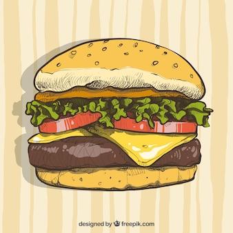 手描きのチーズバーガー