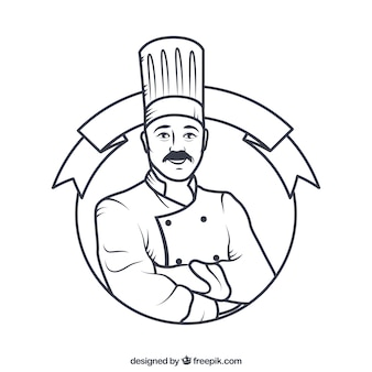 Hand drawn chef badge