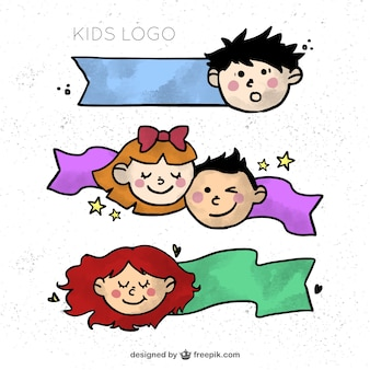 Hand drawn children logo collection