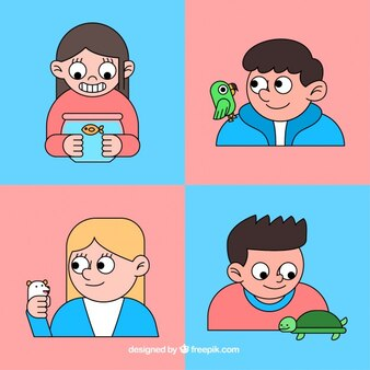 Hand drawn children with pets