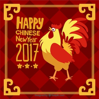 Hand-drawn chinese new year background with golden frame and rooster