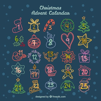 Hand drawn christmas advent calendar