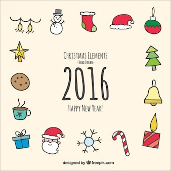 Hand drawn christmas and new year elements