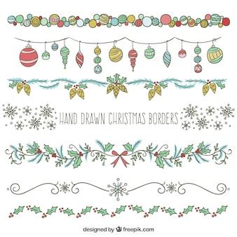 Hand drawn christmas borders