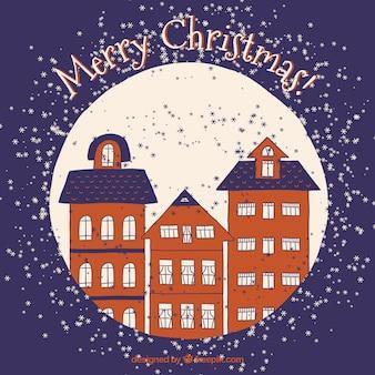 Hand drawn christmas buildings