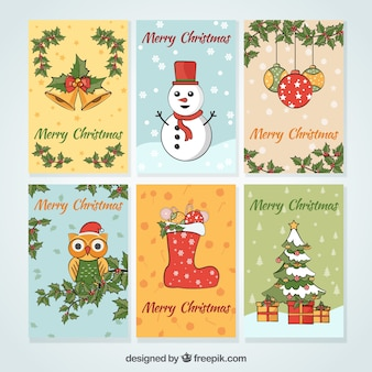 Hand drawn christmas card collection