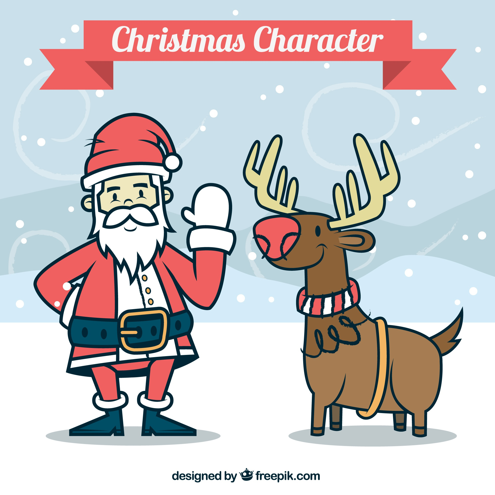 Hand drawn christmas characters in cartoon style