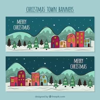 Hand drawn christmas city landscape banners