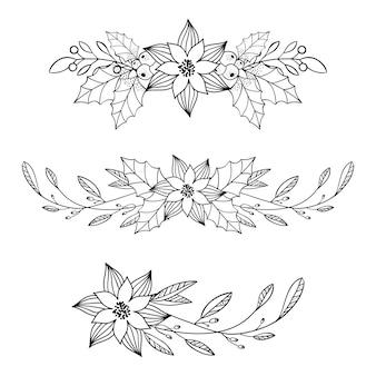 手、葉、花、beriesとクリスマスの装飾を描いた