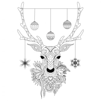 Hand drawn christmas deer
