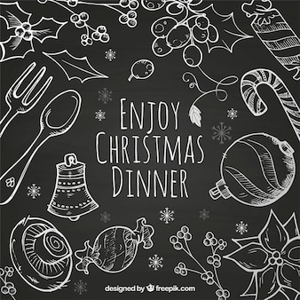 Hand Drawn Christmas Dinner Background