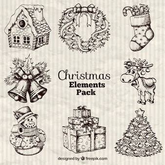 Hand drawn christmas elements pack