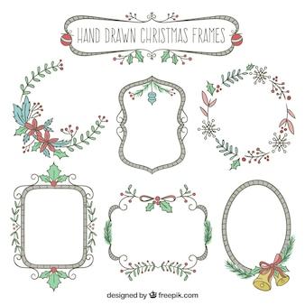 Hand drawn christmas frames