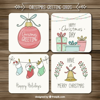 Hand drawn christmas greeting cards