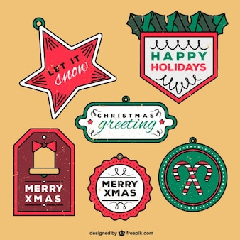 Hand drawn christmas labels collection