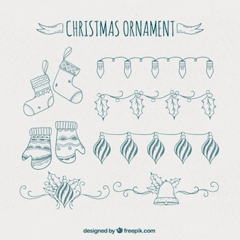Hand-drawn christmas ornaments and garlands