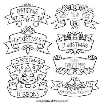 Hand drawn christmas ribbons