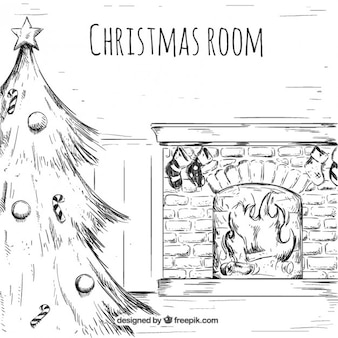 Hand drawn christmas room