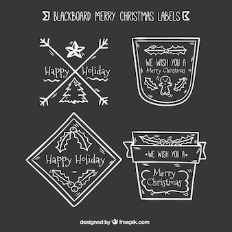 Hand drawn christmas stickers in retro style