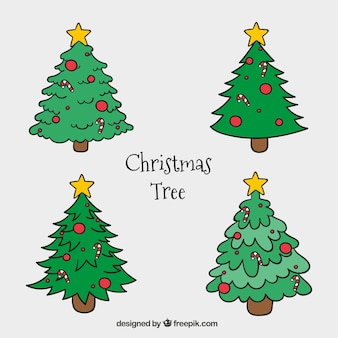 Hand-drawn christmas trees with red decoration